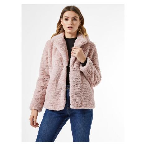 Ružový krátky kabát z umelého kožúšku Dorothy Perkins