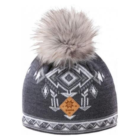 Kama A139-111 ČIAPKA MERINO BRMBOLEC šedá - Dámska pletená čiapka