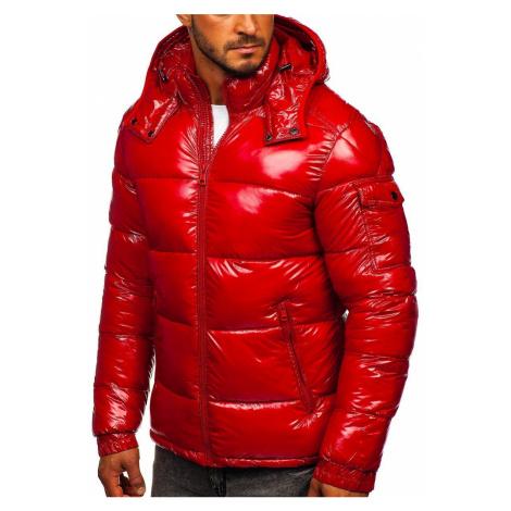 Červená pánska športová prešívaná zimná bunda Bolf 974