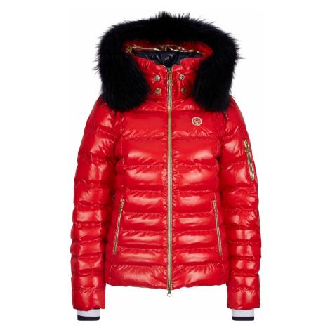 Bunda SPORTALM Kyla Red s kapucňou z pravej kožušiny Červená