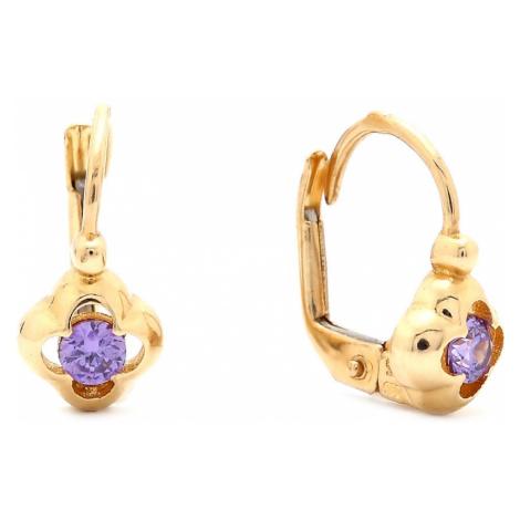 Zlaté dievčenské náušnice KVET s fialovým kameňom