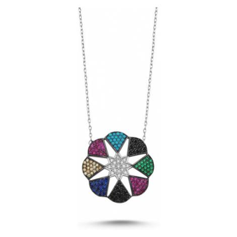 OLIVIE Strieborný náhrdelník s farebnými zirkónmi 2347