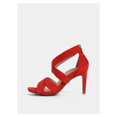 Tamaris červené semišové sandále na kline