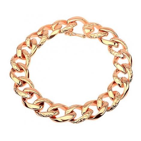Oceľový náramok - hrubá reťaz zdobená hadím vzorom, medená farba