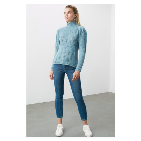 Trendyol Blue Braid Detailed Knitsweater