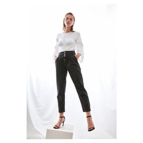 Trendyol Black Waist Detail Super High Waist Mom Jeans