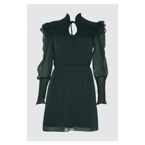 Trendyol Dark Emerald Green Gipe Detailed Dress