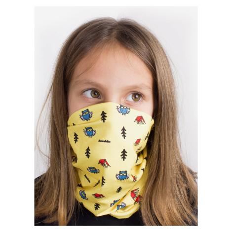 Žltá detská vzorovaná šatka 3v1 Fusakle