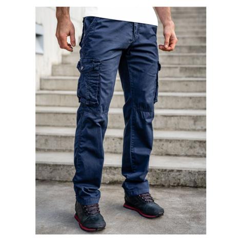Tmavomodré pánske kapsáčové nohavice s opaskom Bolf CT8906