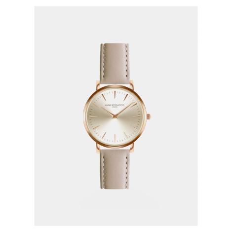 Dámske hodinky s béžovým koženým remienkom Annie Rosewood Primrose