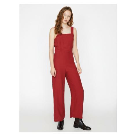 Koton Women Red Wide Leg Jumpsuit