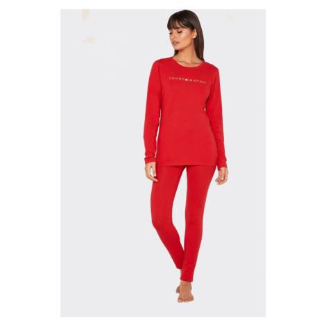 Tommy Hilfiger Original pyžamový vianočný set dámsky - červená/zlatá Veľkosť: S