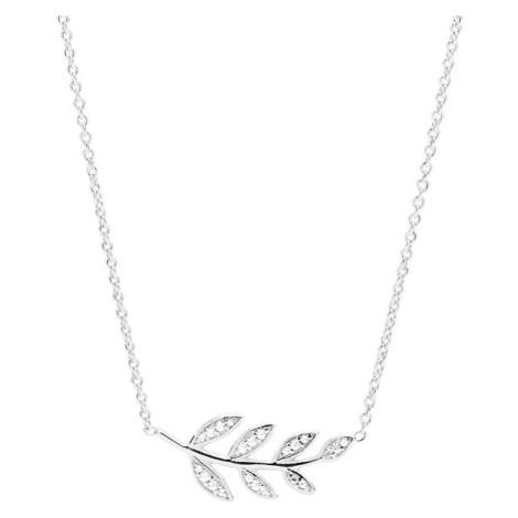 Fossil Strieborný náhrdelník s lístkami JFS00485040