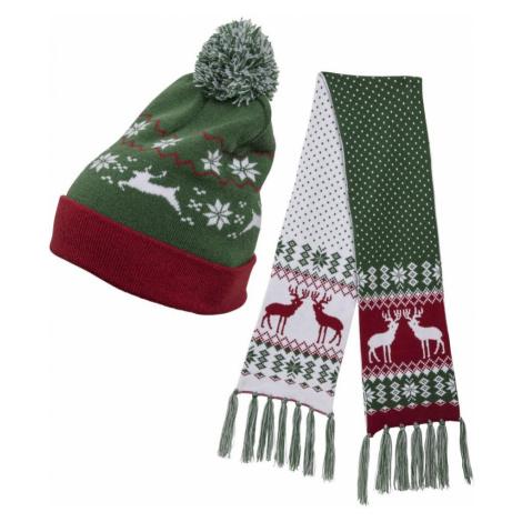 Set šál + čiapka Urban Classics Christmas Set green/red