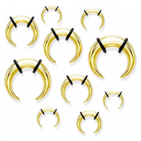 Oceľový piercing do ucha v štýle buffalo, zlatá farba, čierne gumičky - Hrúbka: 8 mm