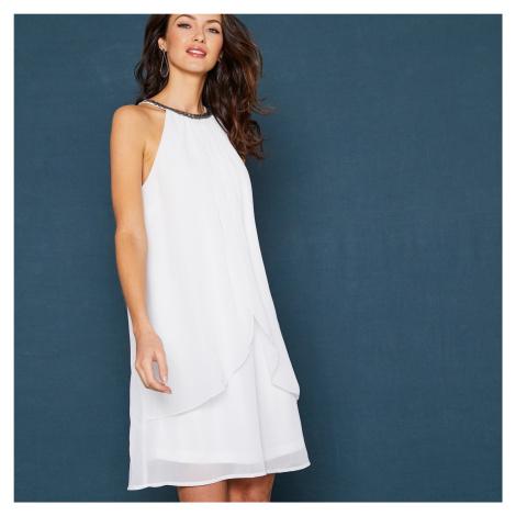 Blancheporte Krátke nariasené šaty, bez rukávov biela