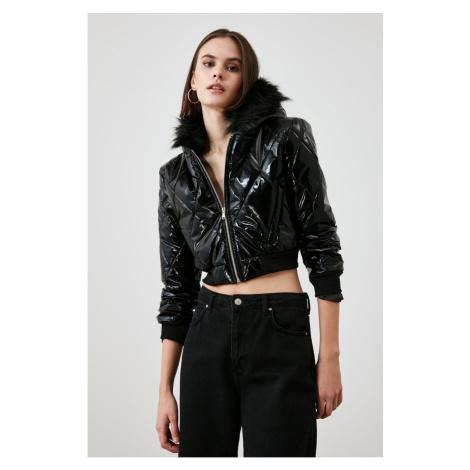 Trendyol Black Hooded Quilted Inflatable Crop Coat
