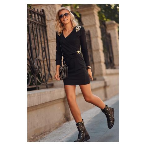 Čierne šaty s výšivkou M597 Makadamia