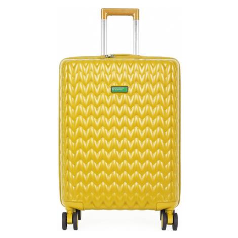 United Colors of Benetton Škrupinový cestovný kufor KNIT Medium 60 l - žlutá