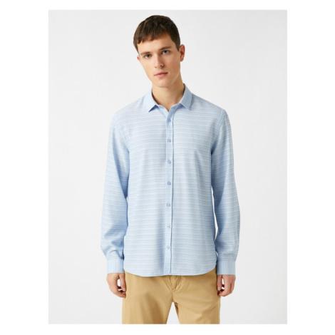 Koton Men's Blue Long Sleeve Shirt