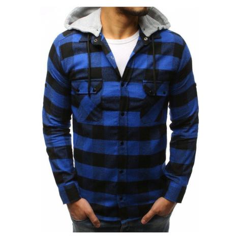Moderná kockovaná košeľa modrá dx1695