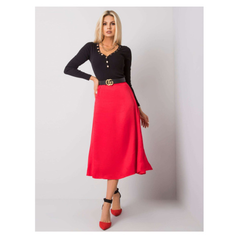 RUE PARIS Red midi skirt