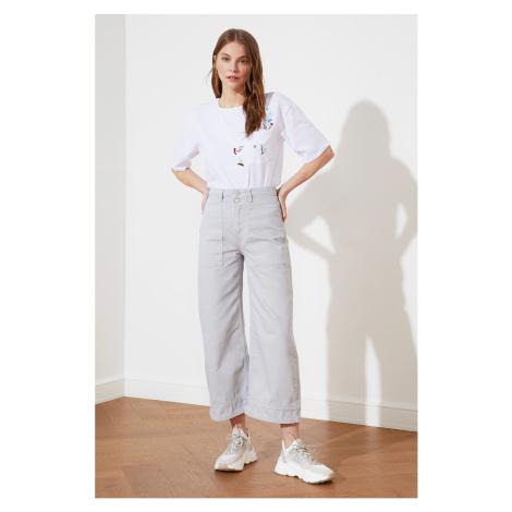 Sivé dámske džínsy bootcut
