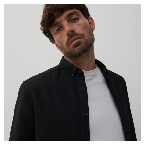Reserved - Štruktúrovaná bavlnená košeľa - Čierna