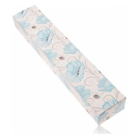 Papierová krabička na retiazku a hodinky, modré kvety maku