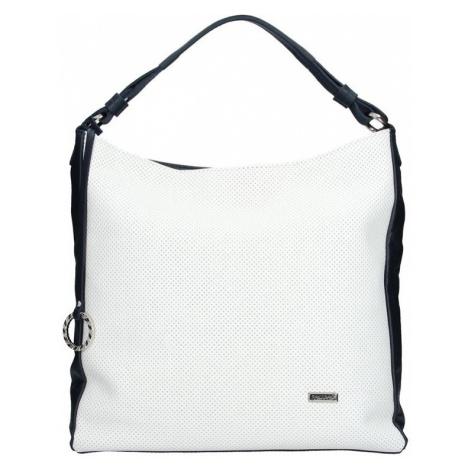 Dámska kožená kabelka Facebag Margaret - bielo-modrá