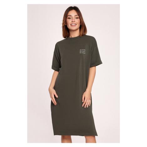 Zelené tričkové midi šaty B194