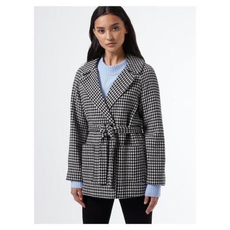 Bielo-čierny vzorovaný krátky kabát Dorothy Perkins Petite