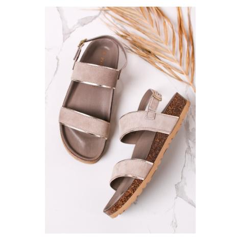 Sivozelené kožené sandále 2-28428 Marco Tozzi