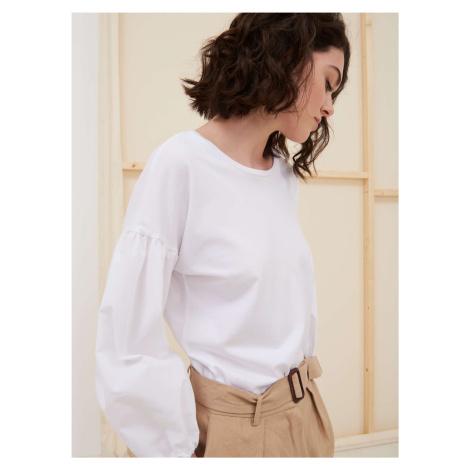 Dámske bavlnené tričko s balónovými rukávmi Pietro Filipi biela