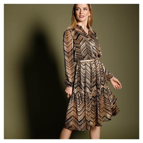 Blancheporte Šaty s potlačou, midi dĺžka čierna/béžová