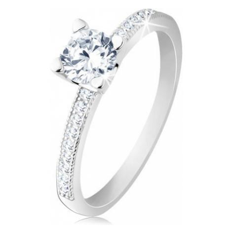 Zásnubný prsteň, striebro 925, ploché ramená, číry okrúhly zirkón - Veľkosť: 61 mm