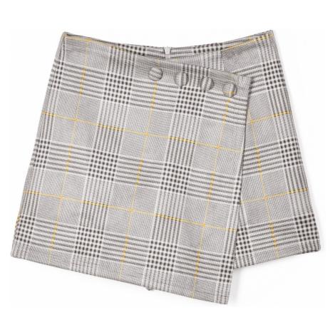 GATE Károvaná sukňa so šortkami s gombíkmi
