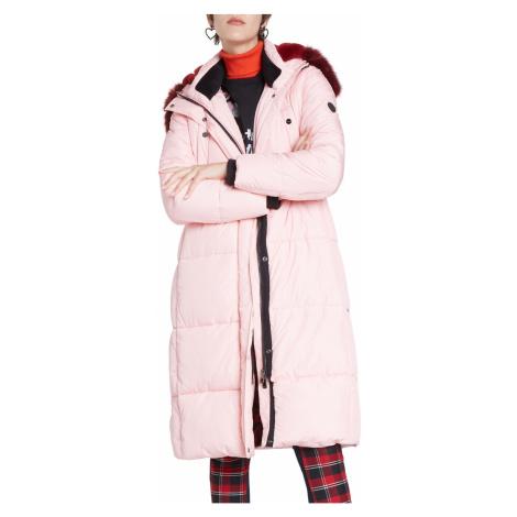 Desigual púdrovo ružový kabát Padded Sveta