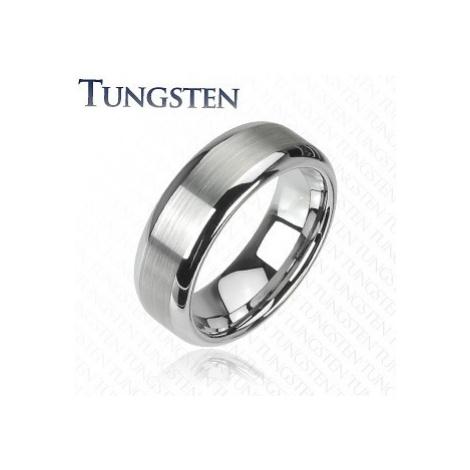Prsteň z wolfrámu striebornej farby - brúsený stredový pás, lesklé okraje - Šírka: 6 mm, Veľkosť