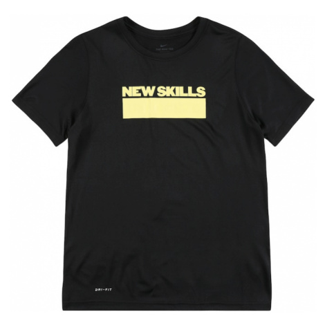 NIKE Funkčné tričko  čierna / pastelovo žltá