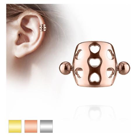 Piercing do ucha z ocele 316L - činka s guličkami, oblúk s výrezmi sŕdc - Farba piercing: Zlatá