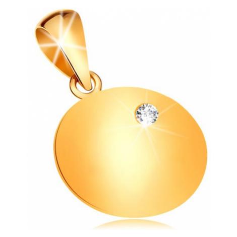 Zlatý prívesok 585 - lesklá plochá okrúhla známka so vsadeným čírym diamantom