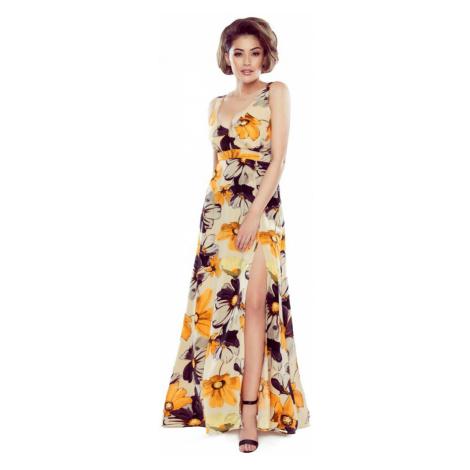 Svetlohnedé kvetované šaty M79983 Bergamo