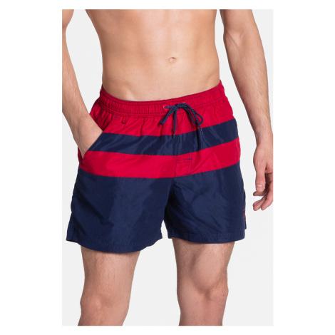 Pánske tmavomodro-červené plavkové šortky Side Henderson