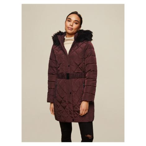 Vínový zimný prešívaný kabát Dorothy Perkins