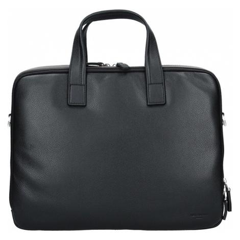 Pánska kožená taška cez rameno Hexagona Nicolas - čierno-hnedá