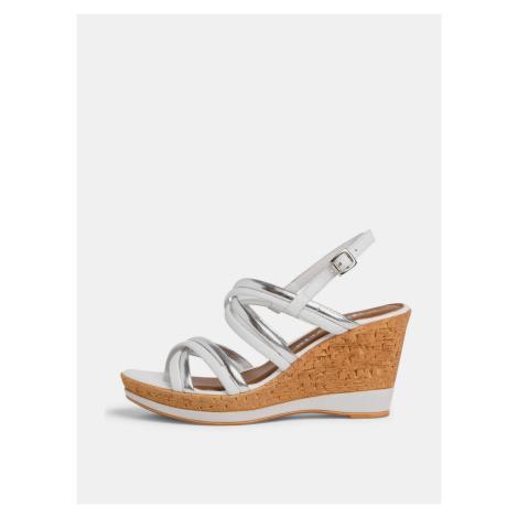 Tamaris biele kožené topánky na kline