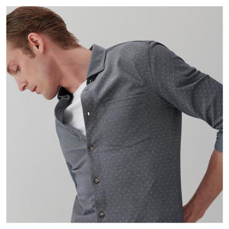 Reserved - Košeľa s mikropotlačou slim fit - Tmavomodrá
