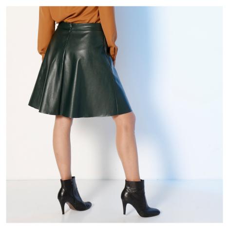 Blancheporte Krátka koženková (1) sukňa fľašovo zelená