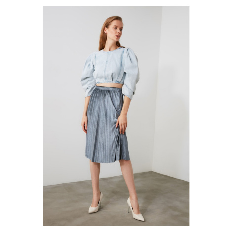 Trendyol Anthracite Pleated Knitted Skirt